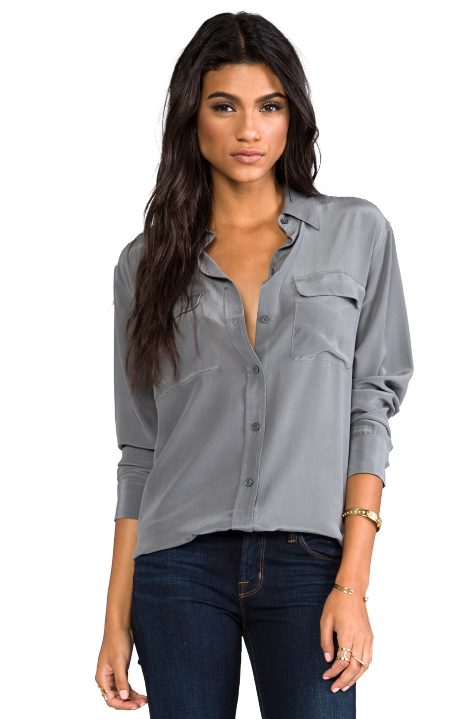 Equipment Signature Vintage Wash Blouse in Gun Metal