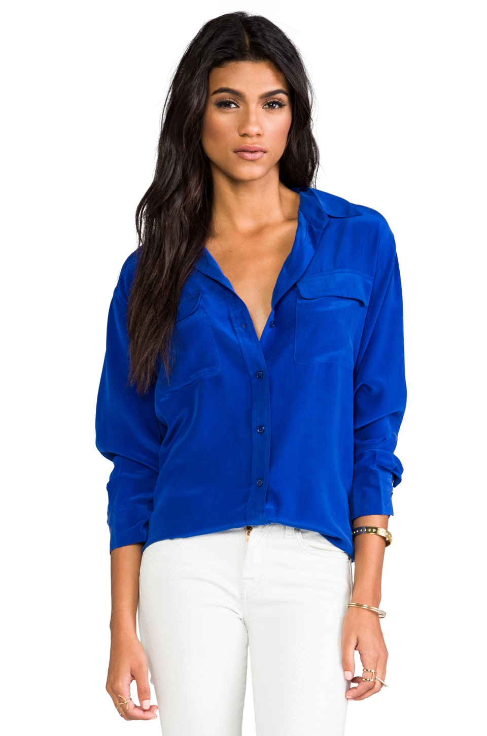 Equipment Signature Vintage Wash Blouse in Mazarine Blue