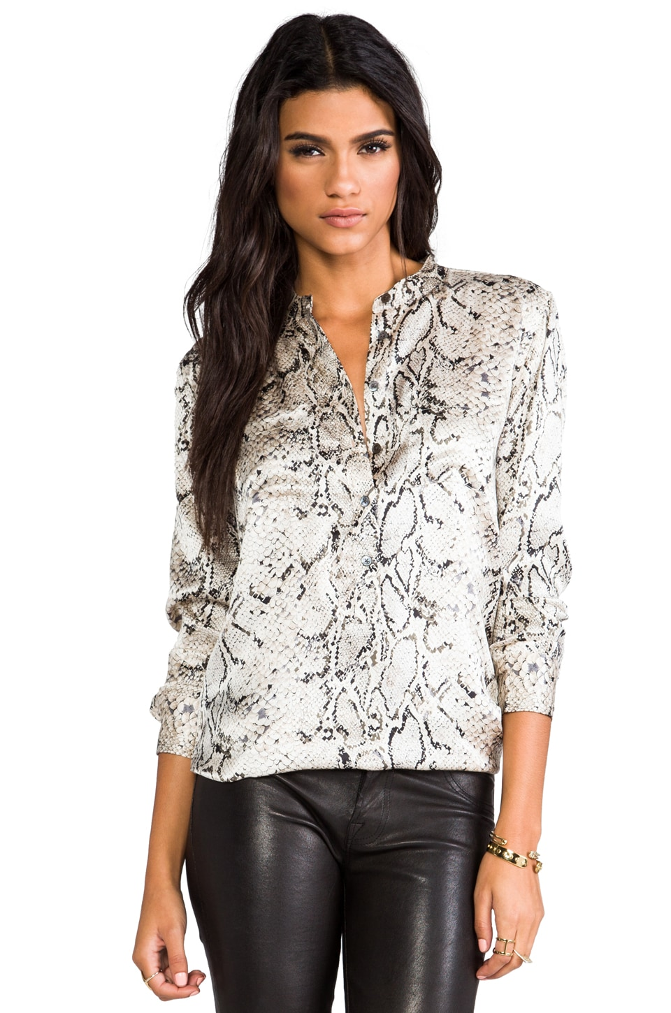 Equipment Ava Printed Blouse in Fawn Python