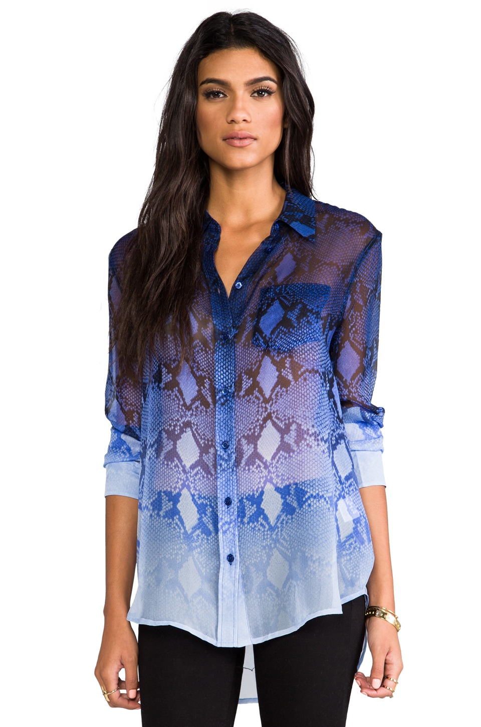 Equipment Reese Fading Blouse in Mazarine Blue