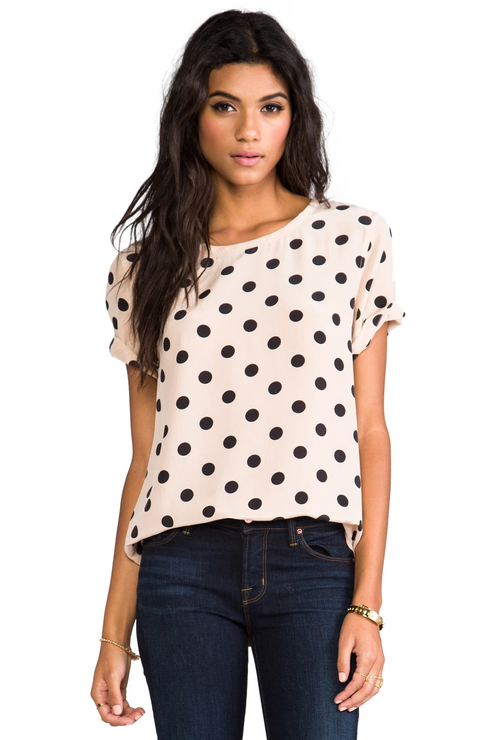 Equipment Riley Modern Dot Blouse in Nude