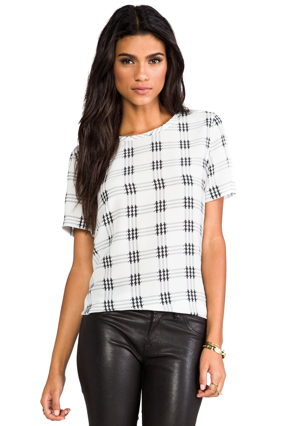 Equipment Riley Houndstooth Check Blouse in Nature White Multi