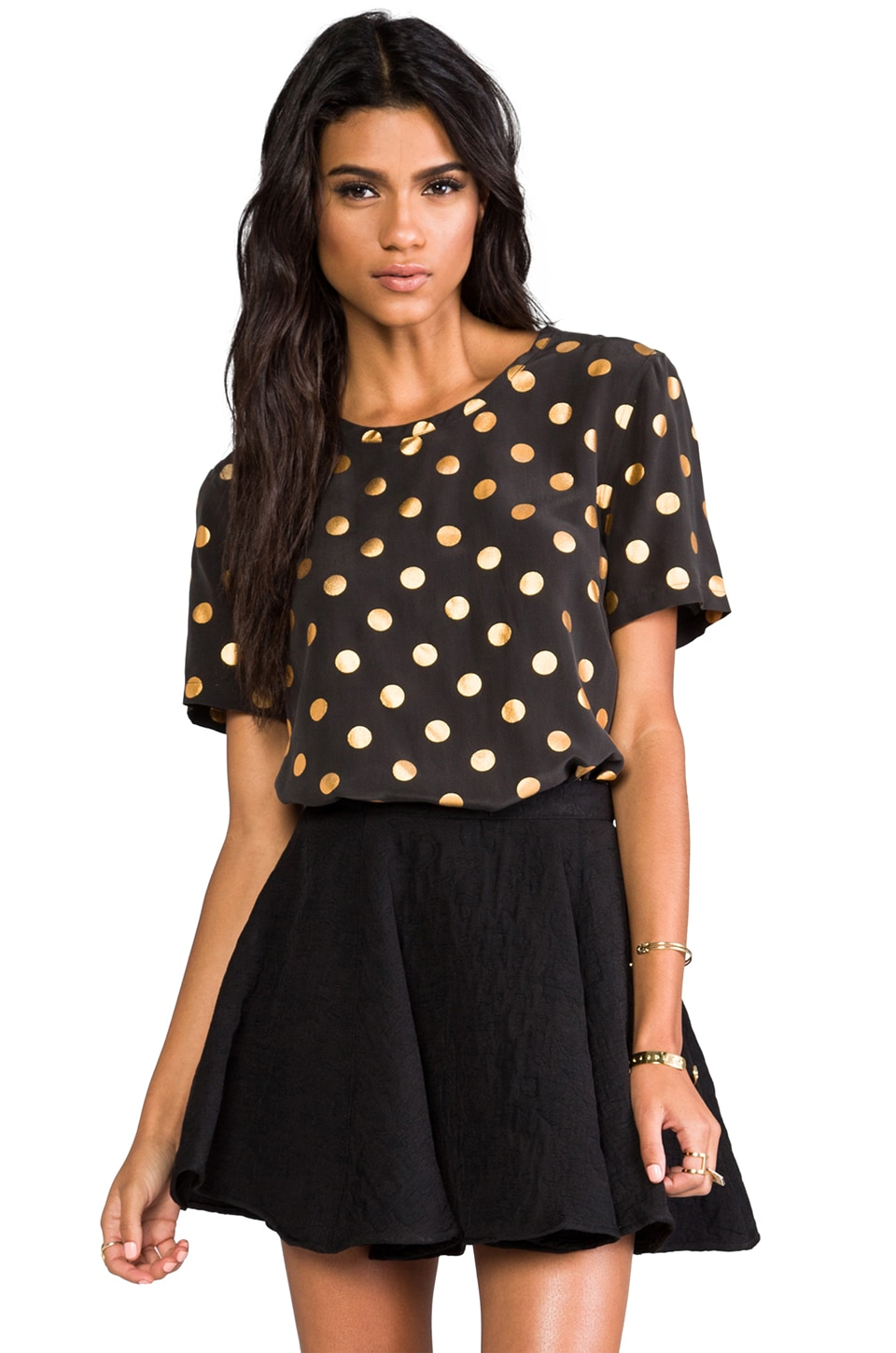 Equipment Riley Modern Dot Foil Blouse in Black