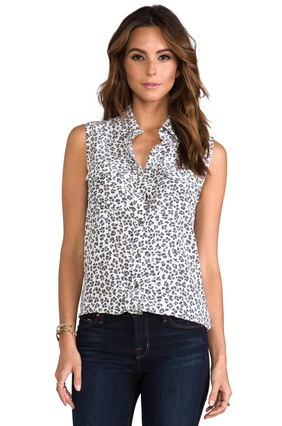 Equipment Sleeveless Slim Signature Kitten Leopard Blouse in Bright White