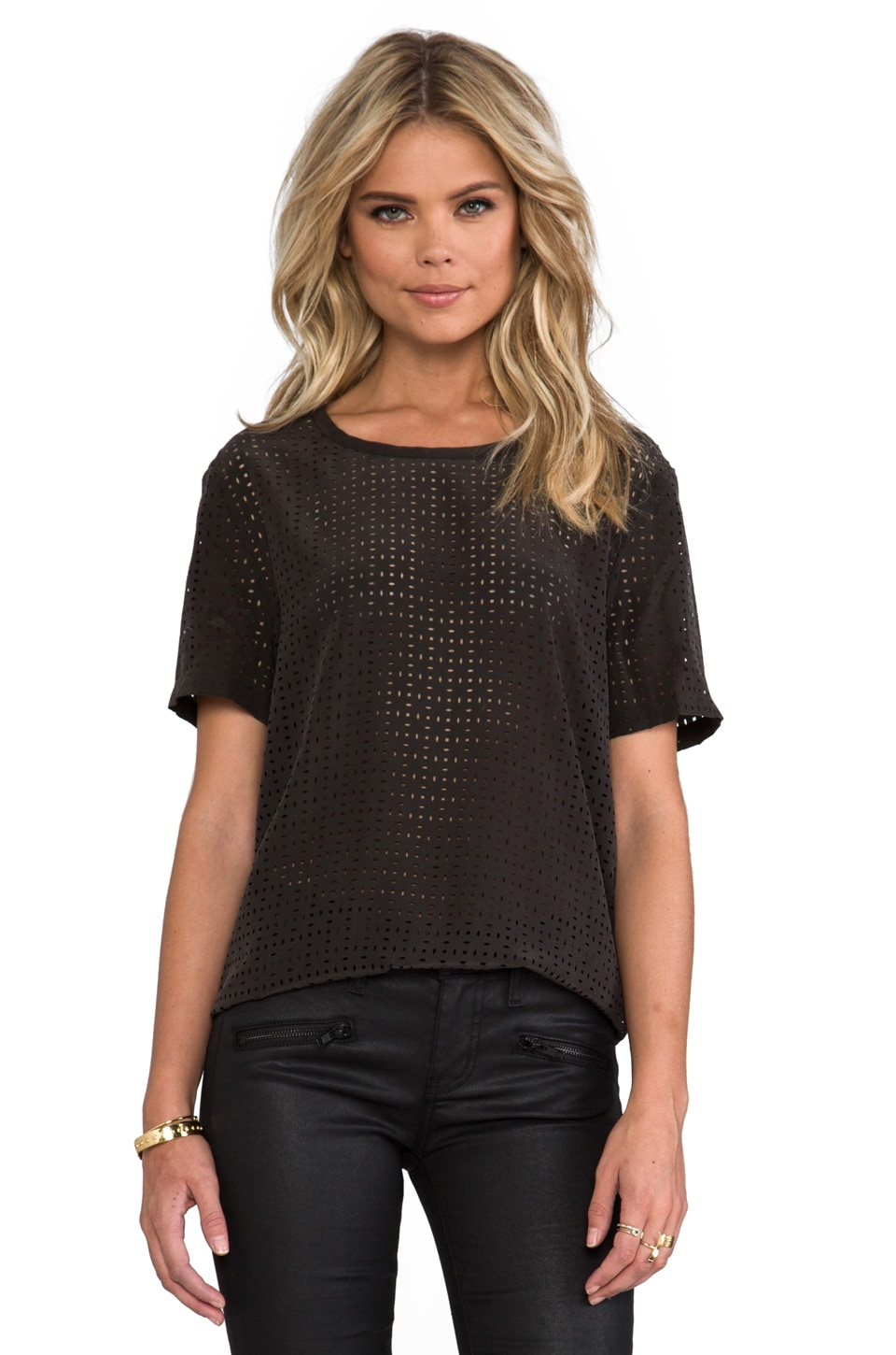 Equipment Riley Laser Cut Blouse in Black