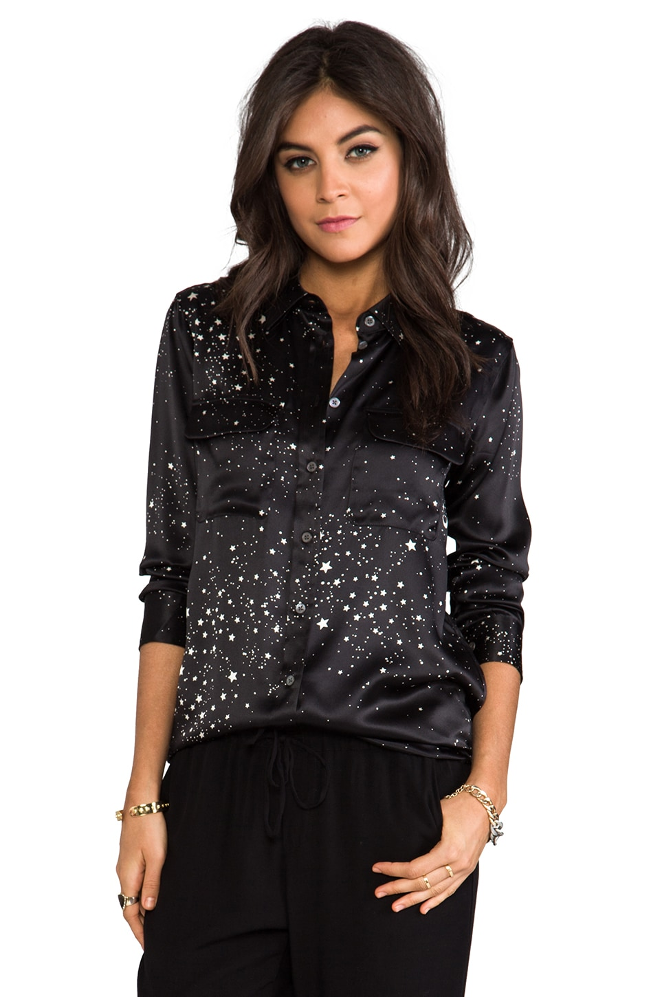 Equipment Slim Signature Astronomy Blouse in Black