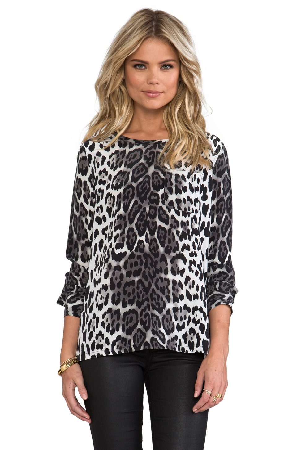 Equipment Liam Magic Leopard Pocket Blouse in Black