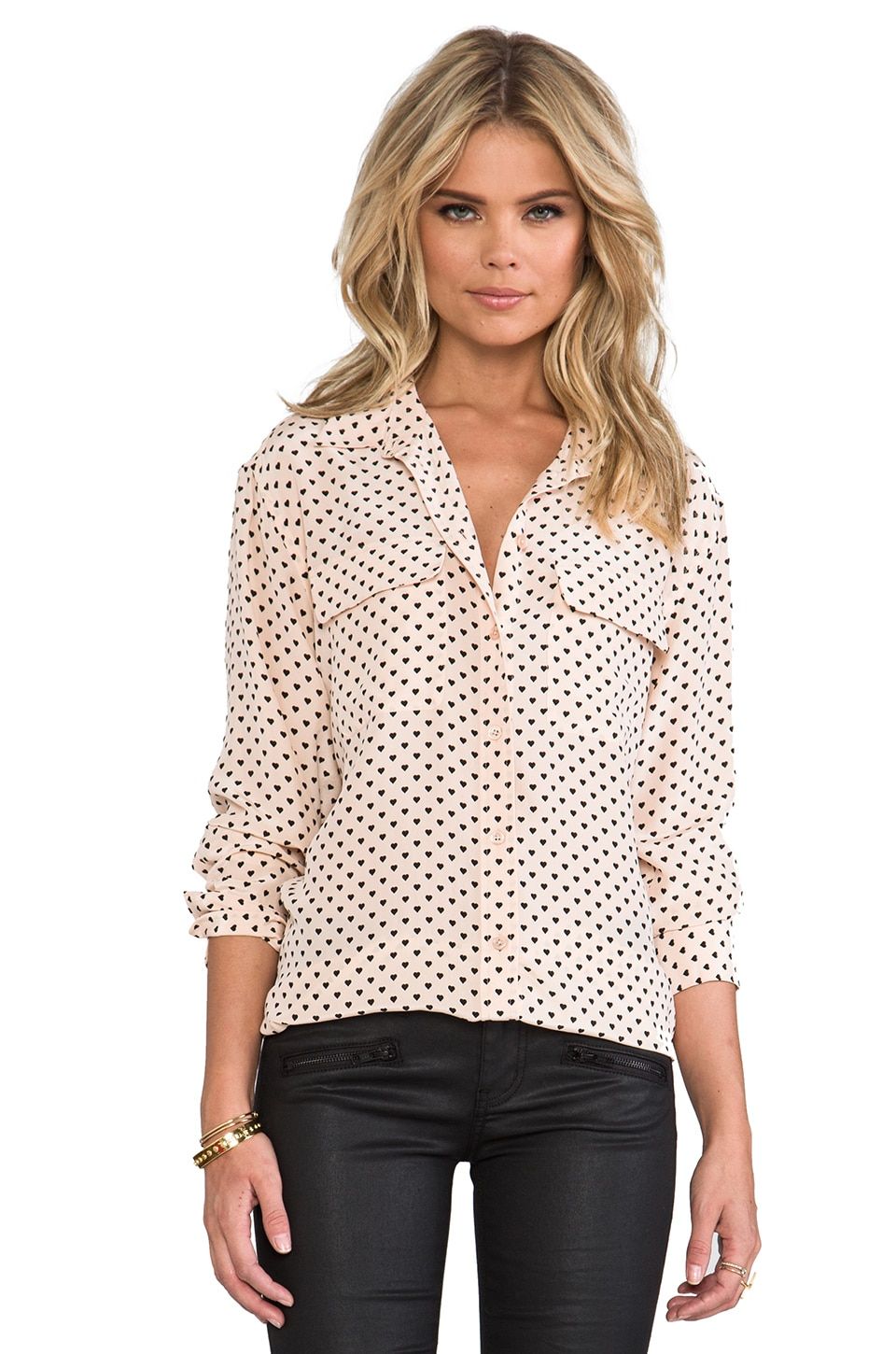 Equipment Signature Angelica Hearts Blouse in Nude