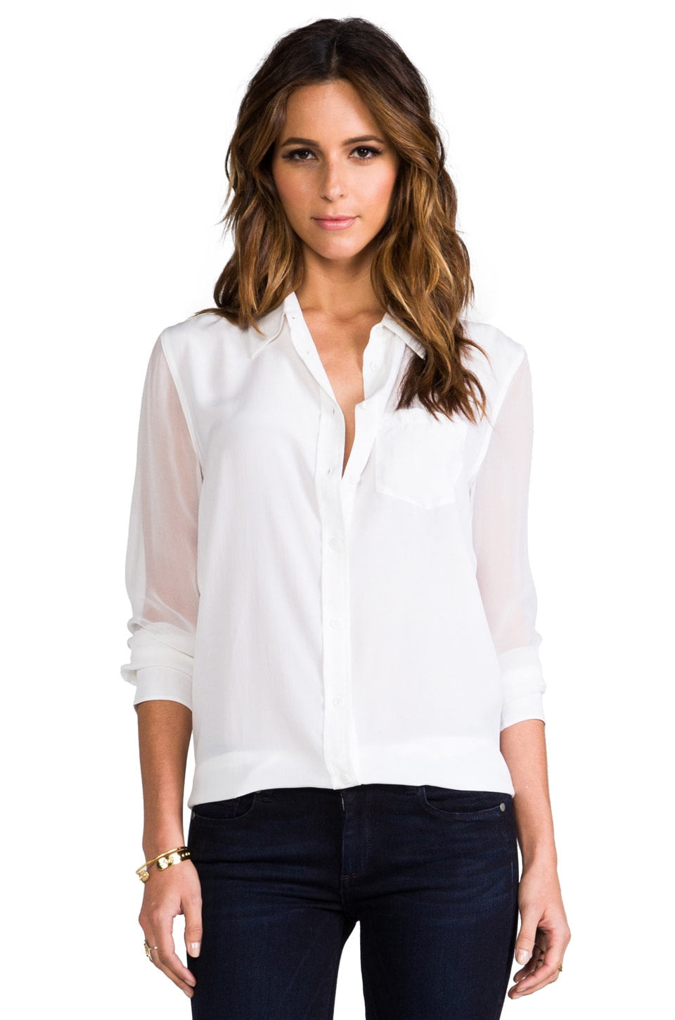 Equipment Reese Blouse w/ Contrast Sleeve in Bright White