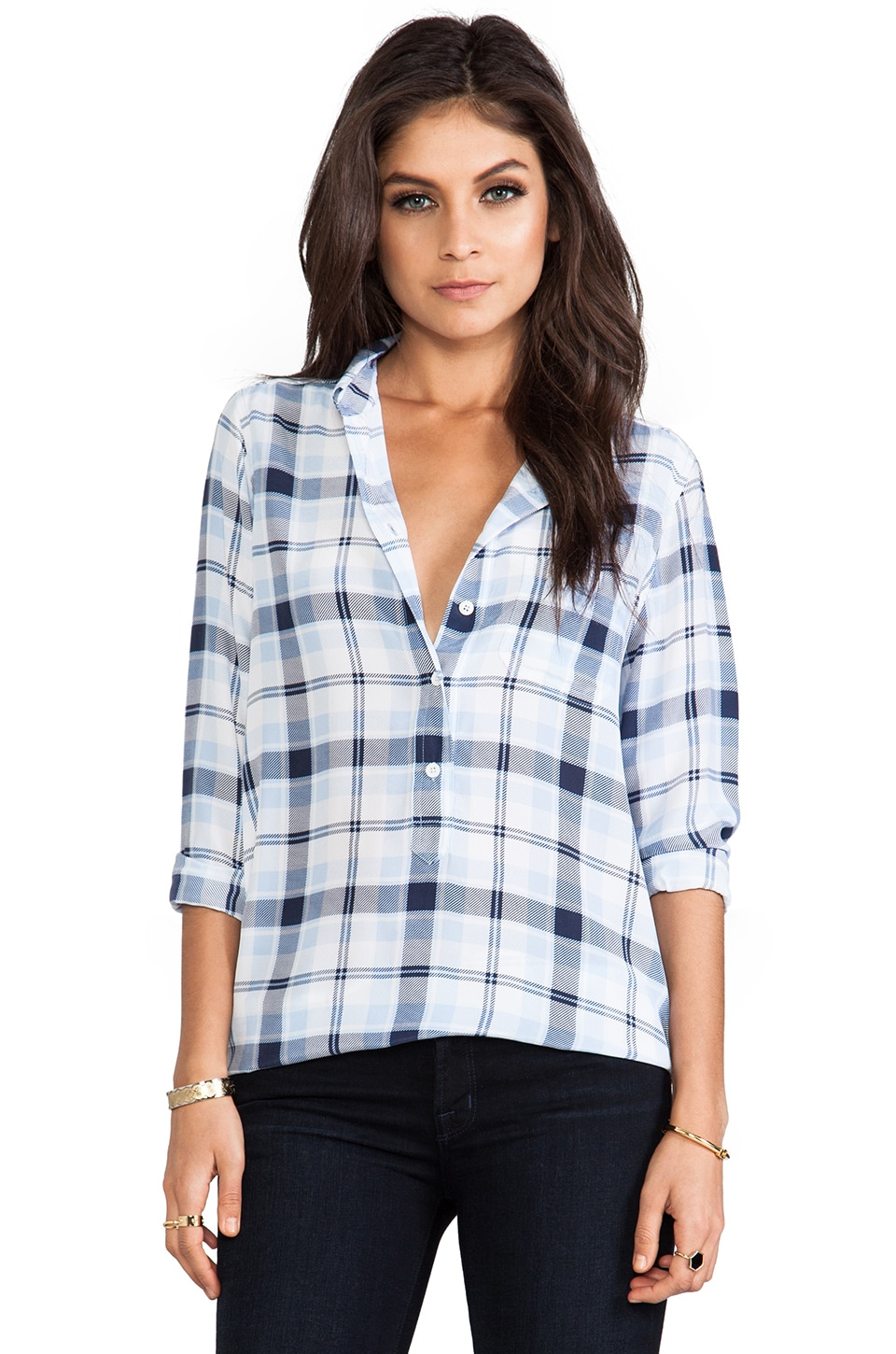 Equipment Capri Country Plaid Blouse in Peacoat