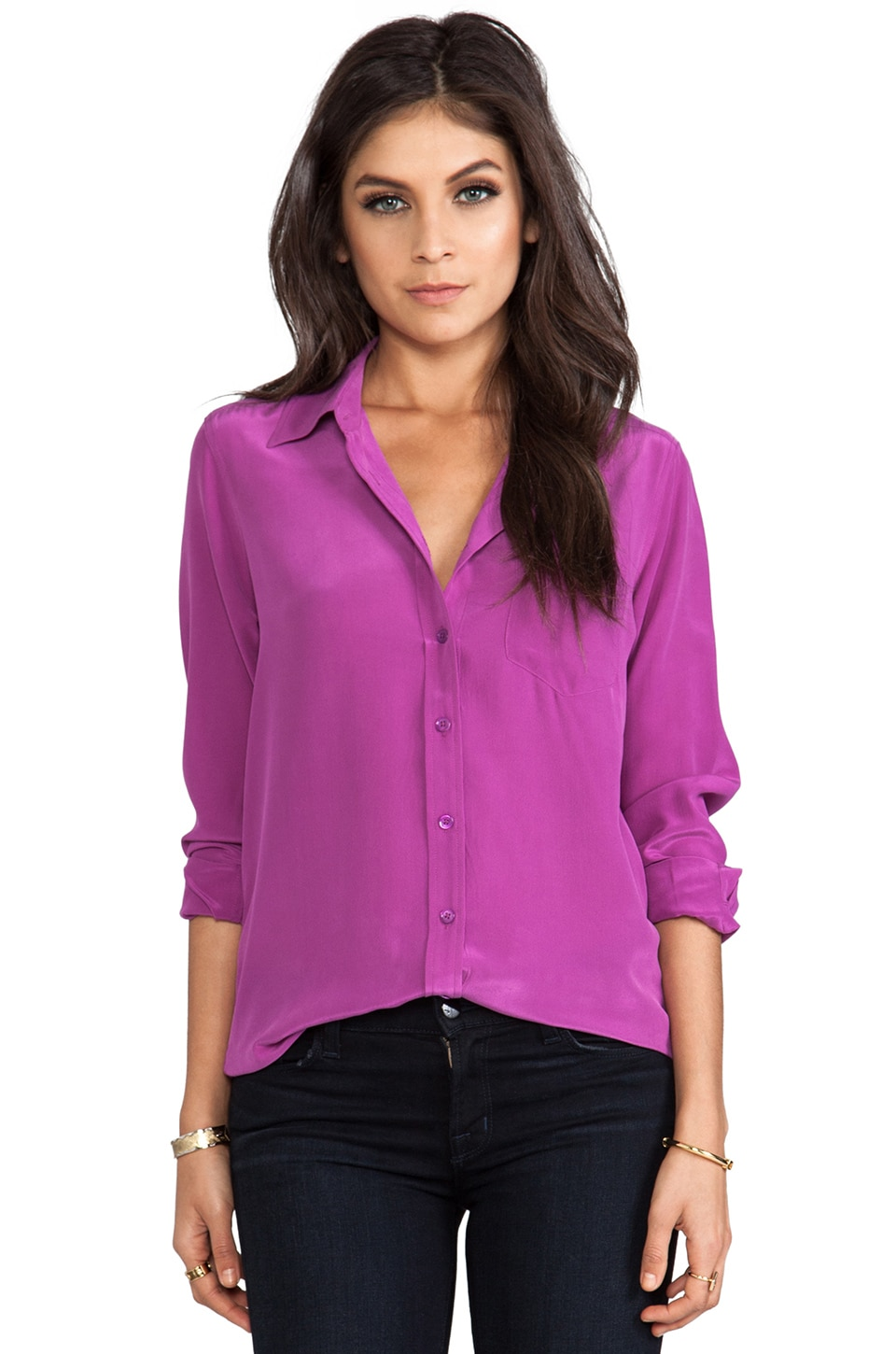 Equipment Brett Vintage Wash Blouse in Mulberry