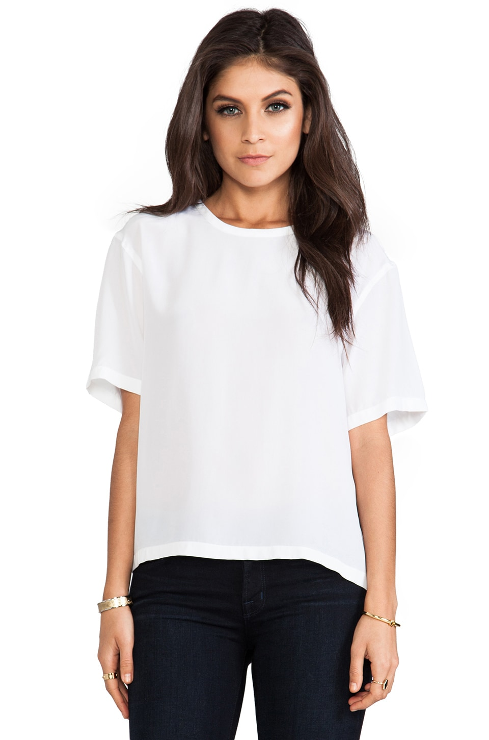 Equipment Logan Vintage Wash Tee in Bright White