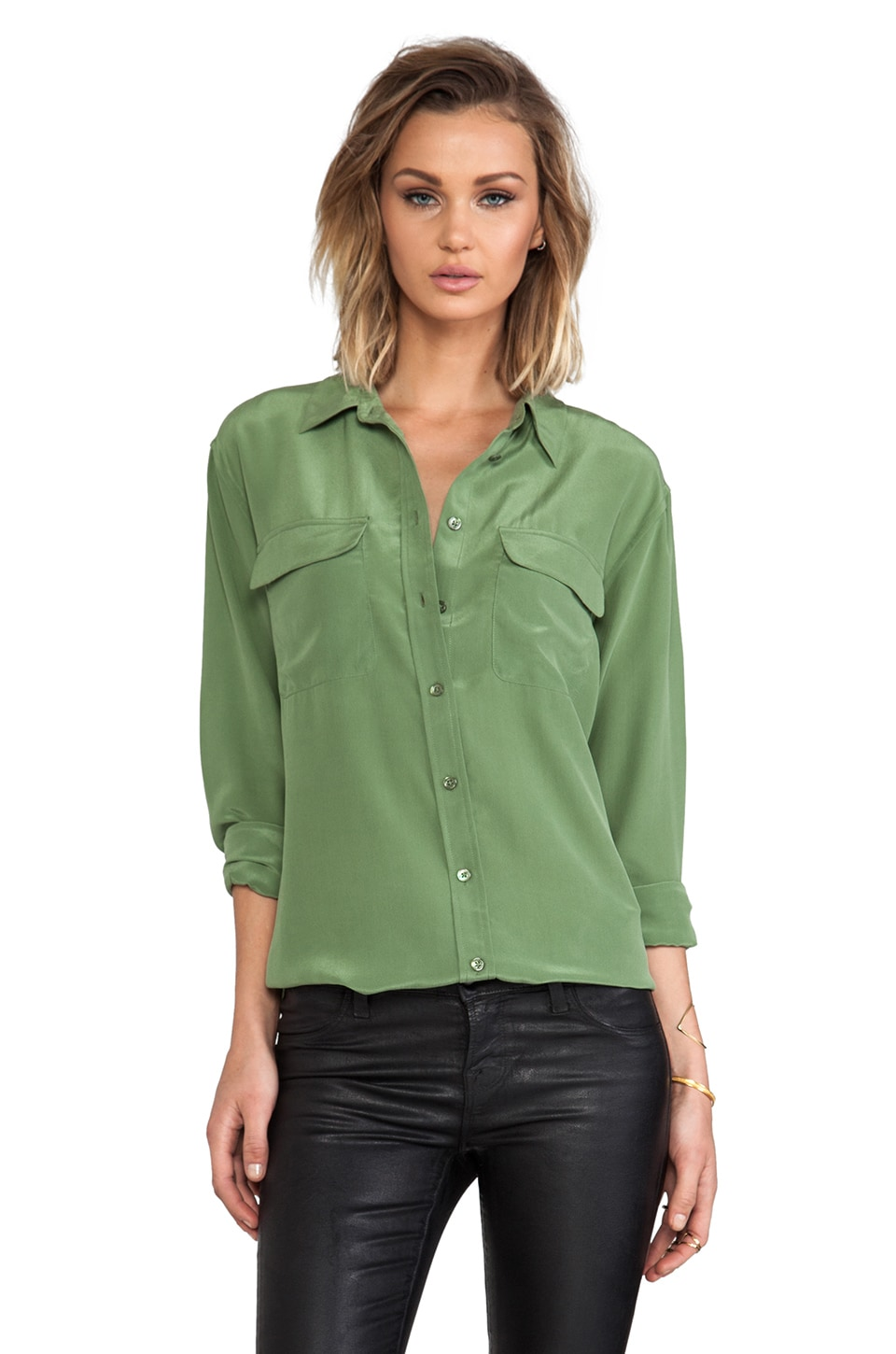 Equipment Signature Super Vintage Wash Blouse in Safari Green
