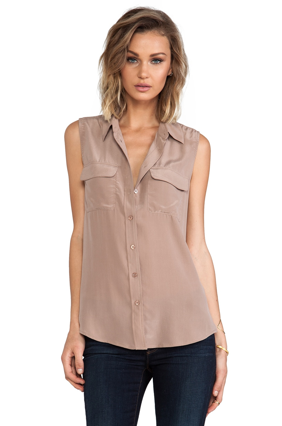 Equipment Sleeveless Slim Signature Blouse in Rosewood