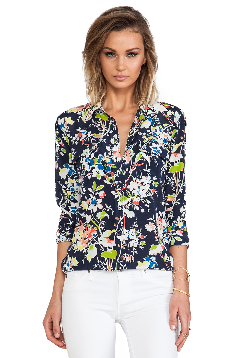Equipment Slim Signature Floral Demonstration Blouse in Peacoat