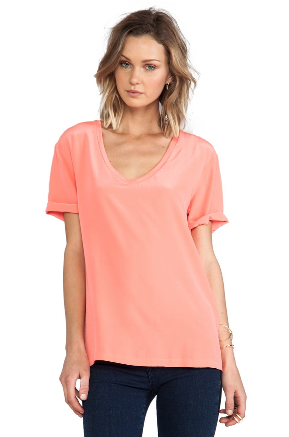Equipment Cameron Tee in Neon Orange