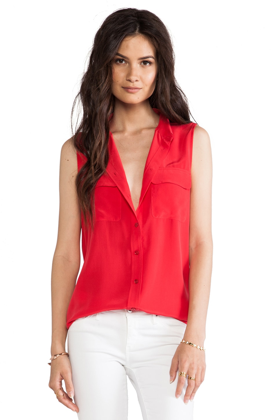 Equipment Sleeveless Slim Signature Vintage Wash Blouse in Strawberry Red