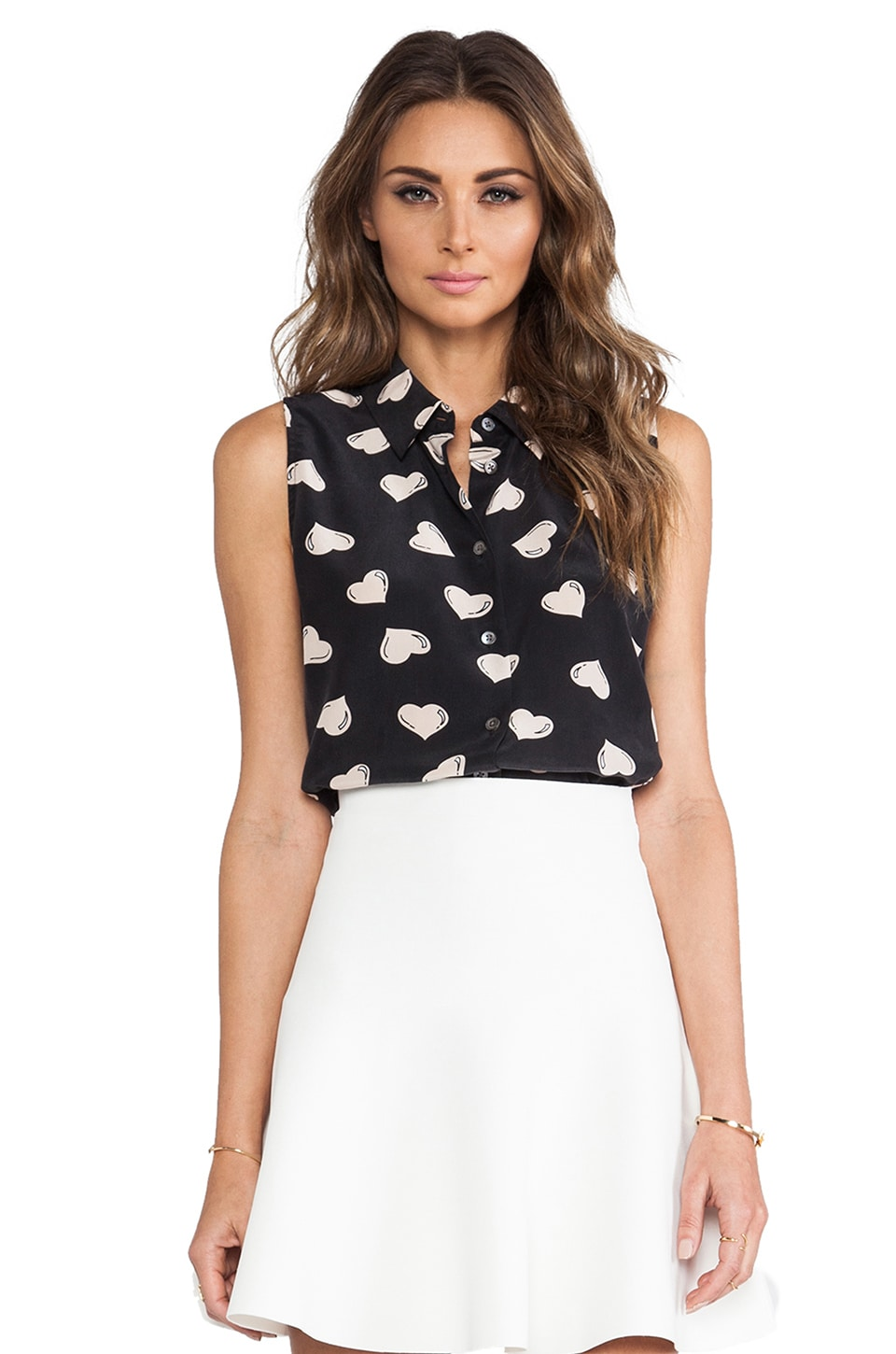Equipment Colleen Modest Heart Blouse in Black & Nude