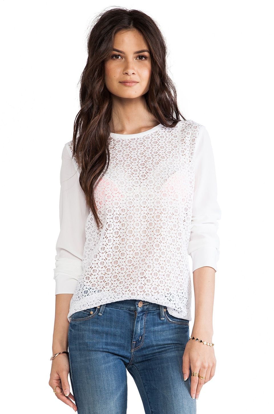 Equipment Liam Revival Lace Blouse in Bright White