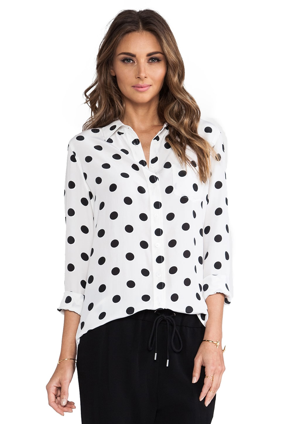 Equipment Brett Archive Vital Dot Blouse in Bright White & Black