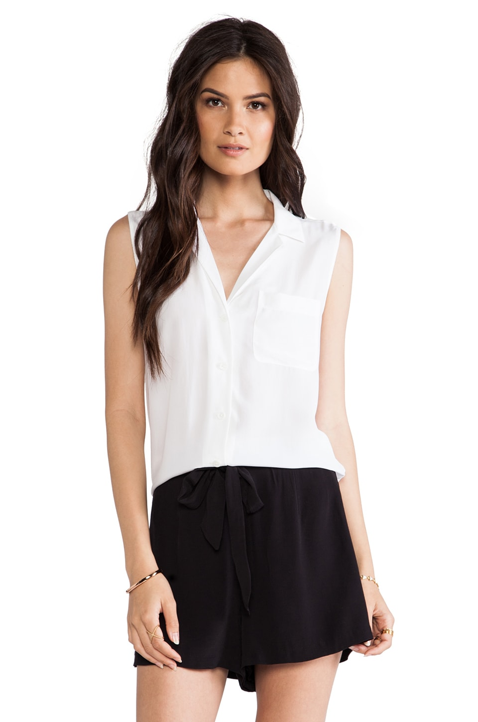 Equipment Sleeveless Keira Blouse in Bright White