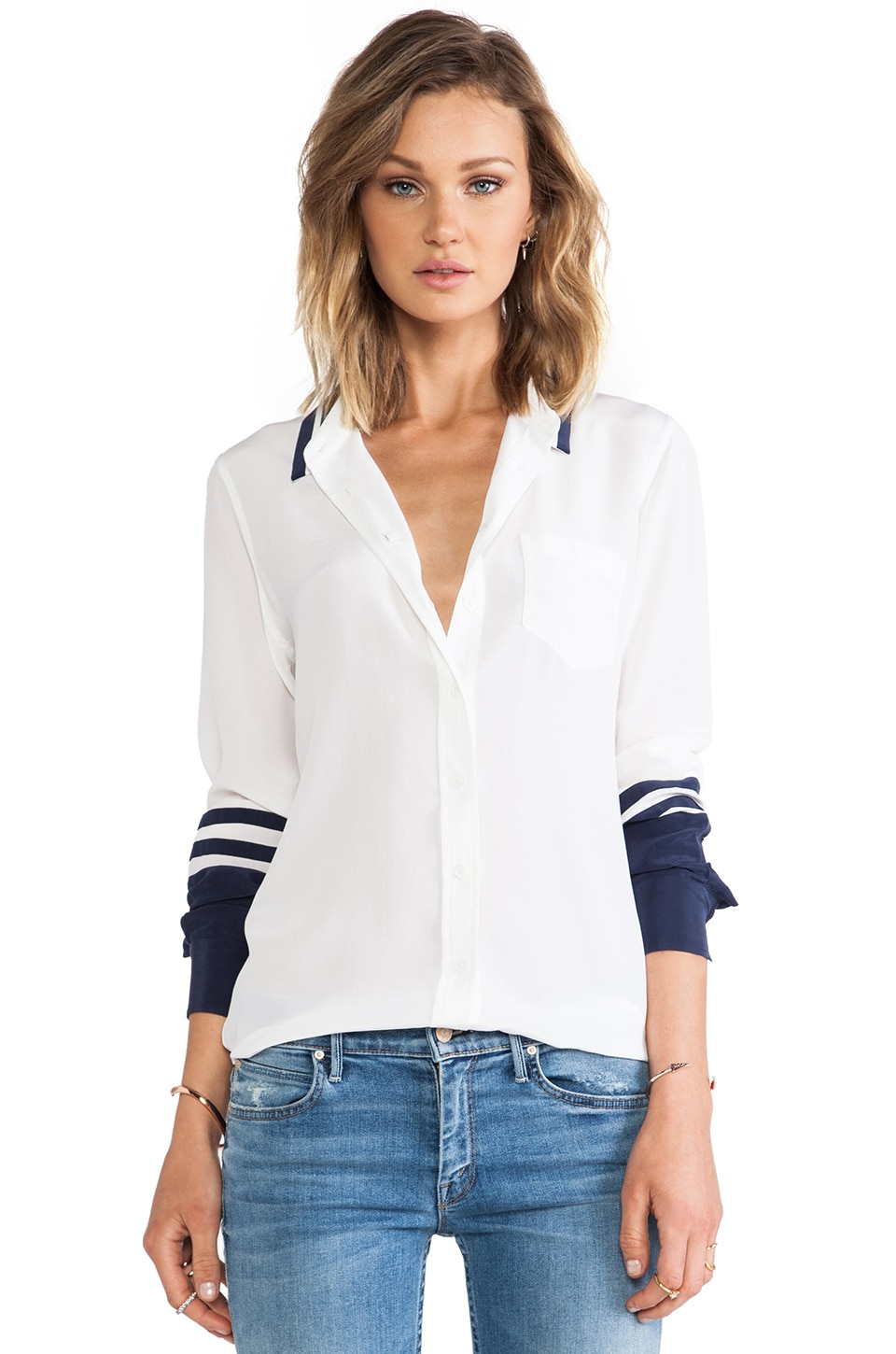 Equipment Brett Blouse in Bright White & Peacoat