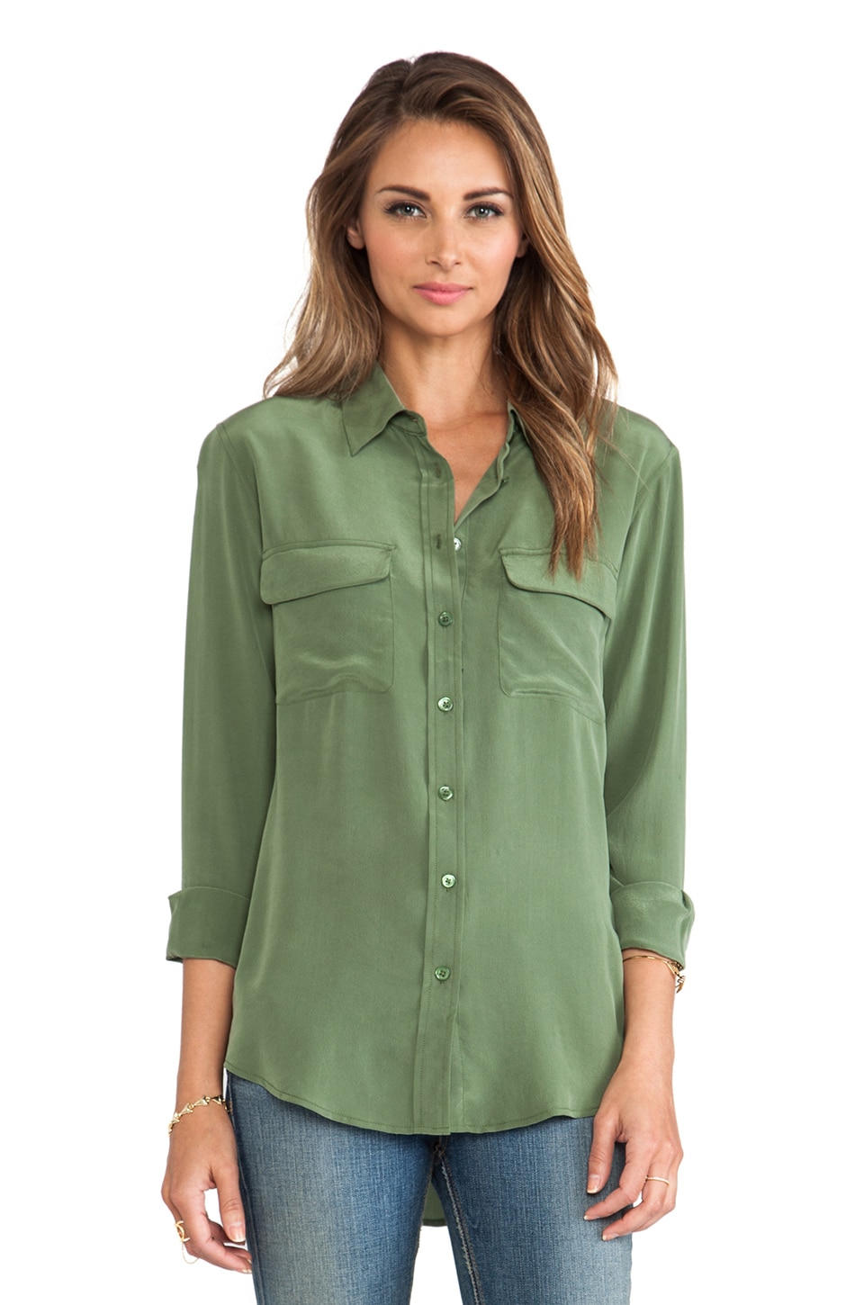 Equipment Slim Signature Blouse in Military Green