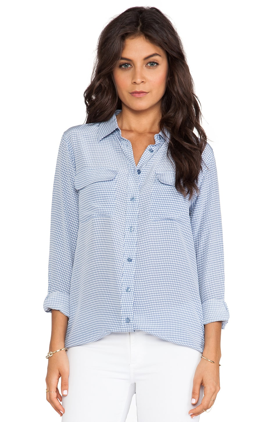 Equipment Slim Signature Archive Absoulte Houndstooth Blouse in Blue Jean & Bright White