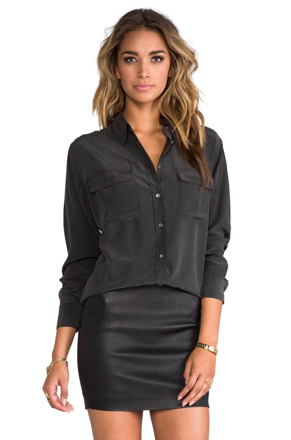 Equipment Signature Blouse in True Black