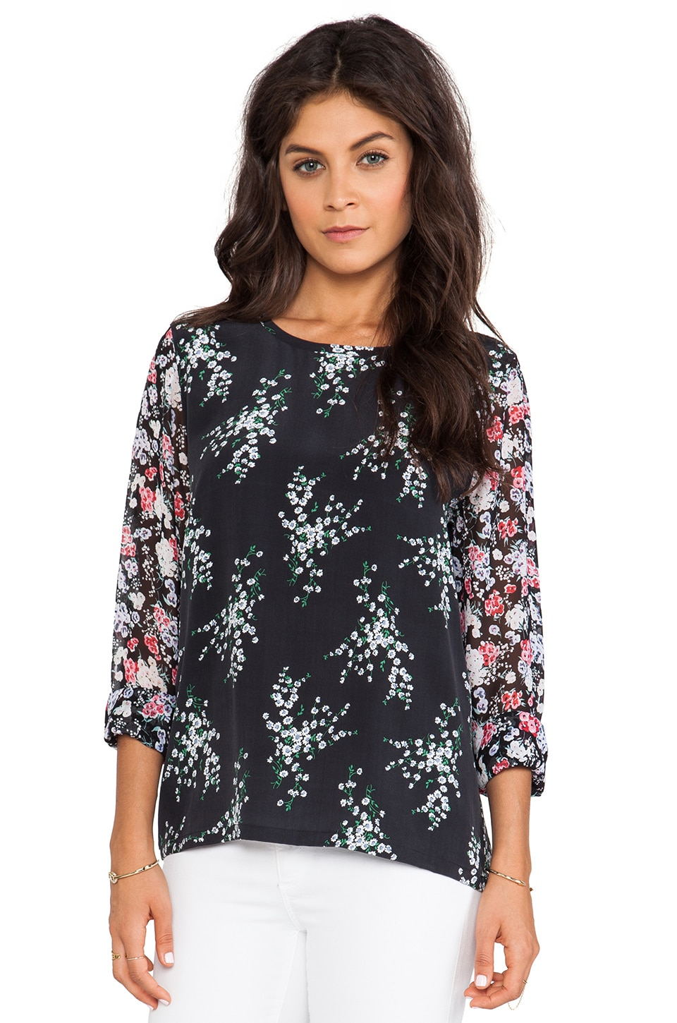 Equipment Liam Elevated Bloom Blouse in True Black