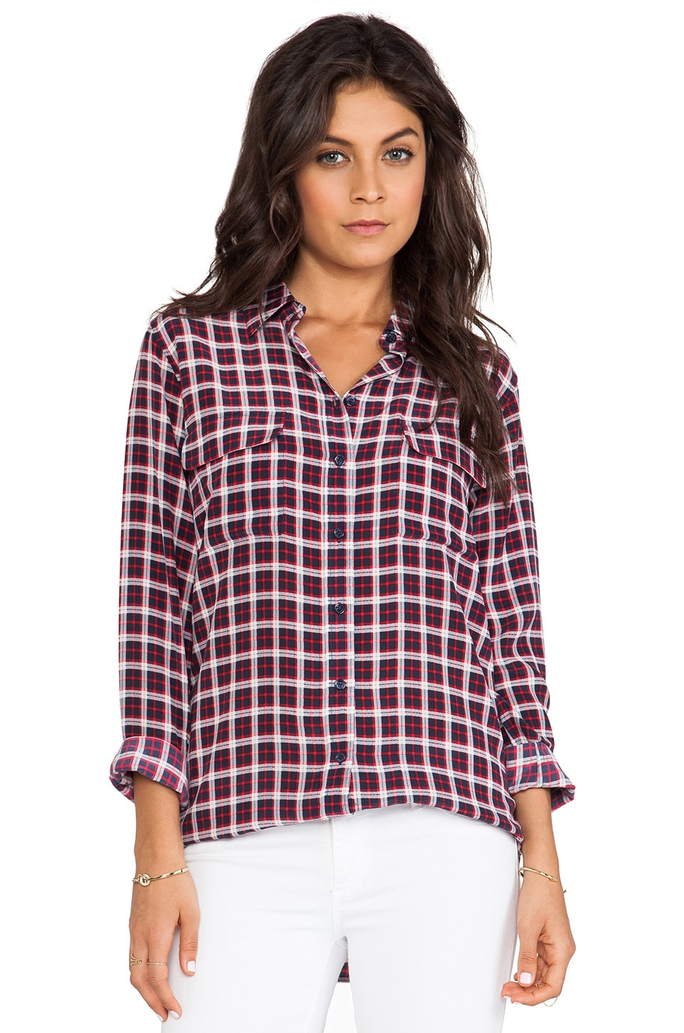 Equipment Slim Signature Pragmatic Plaid Blouse in Stealth Multi