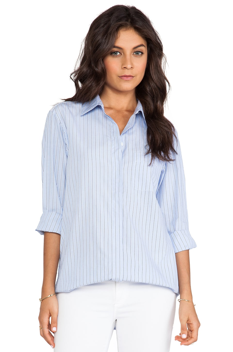 Equipment Marisson Cotton Shirt in French Blue & Navy
