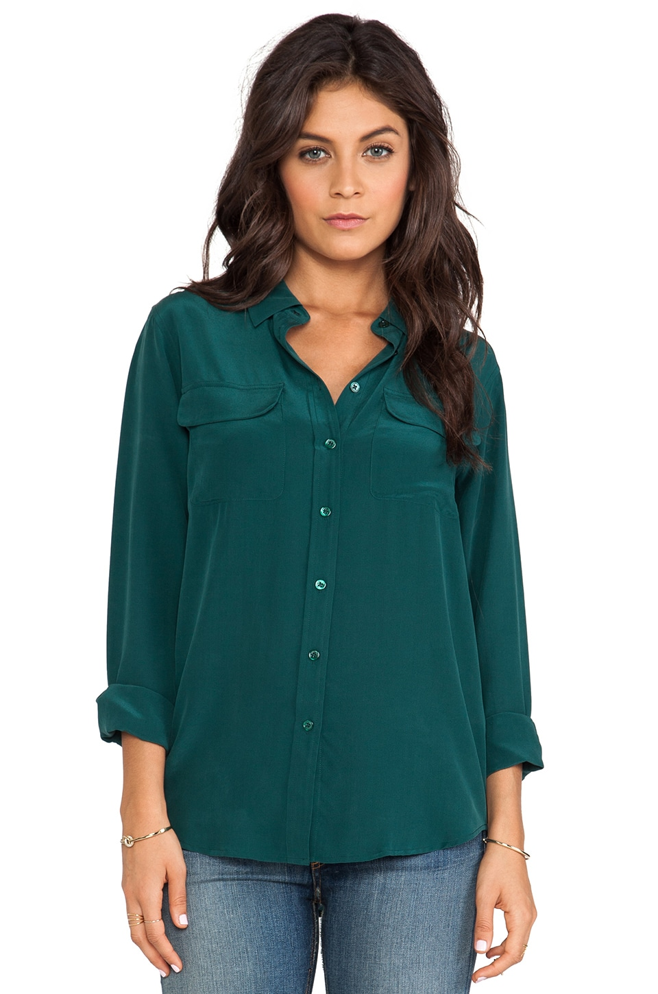 Equipment Slim Signature Blouse in Pine