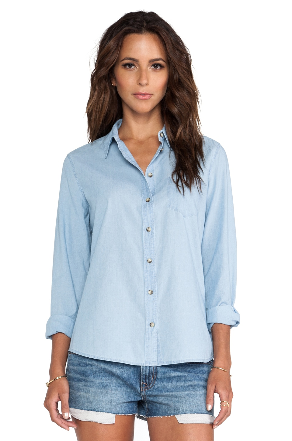 Equipment Brett Chambray Blouse in Blue