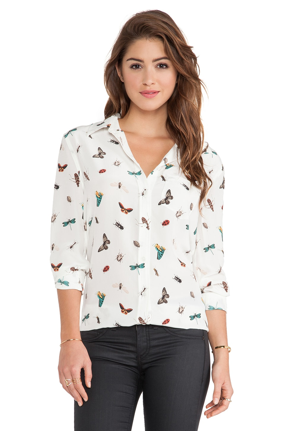 Equipment Reese Complex Insect Print Blouse in Nature White