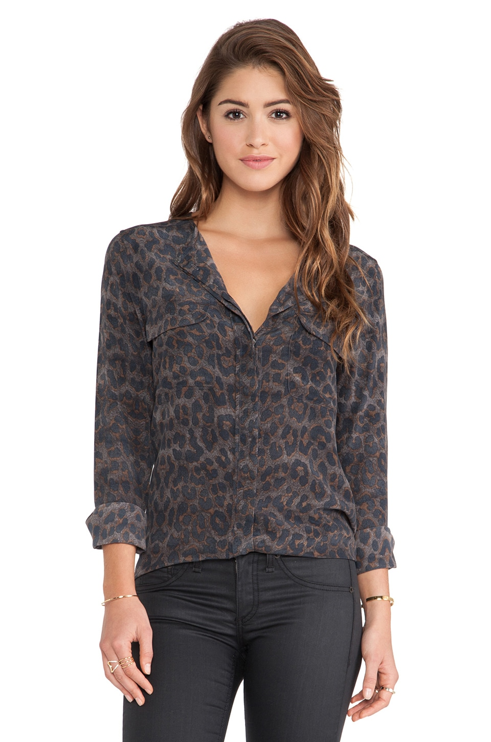Equipment Lynn Mischievous Leopard Printed Blouse in Gunmetal