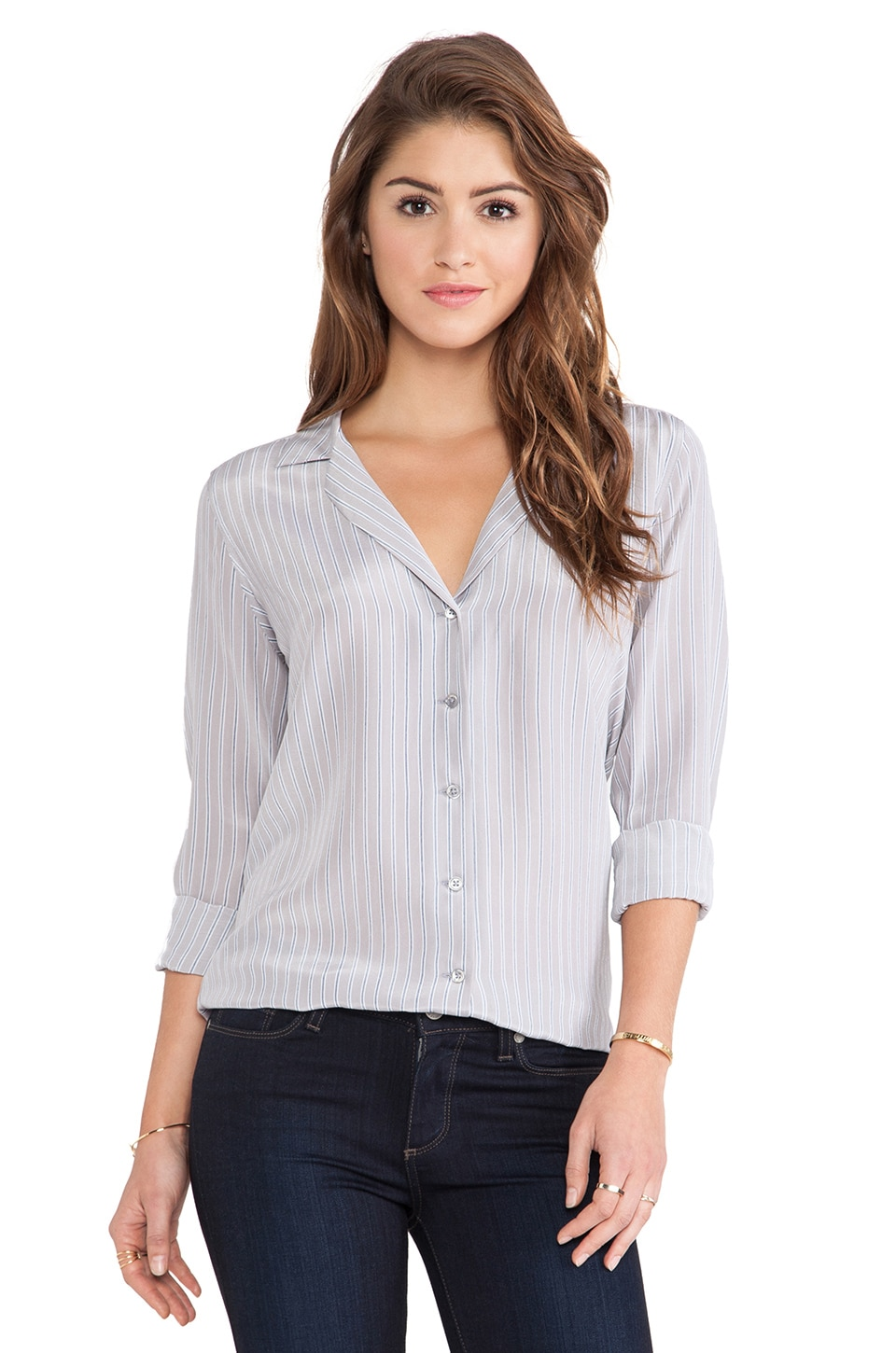 Equipment Adalyn Menswear Stripe Blouse in Silver Sconce Multi