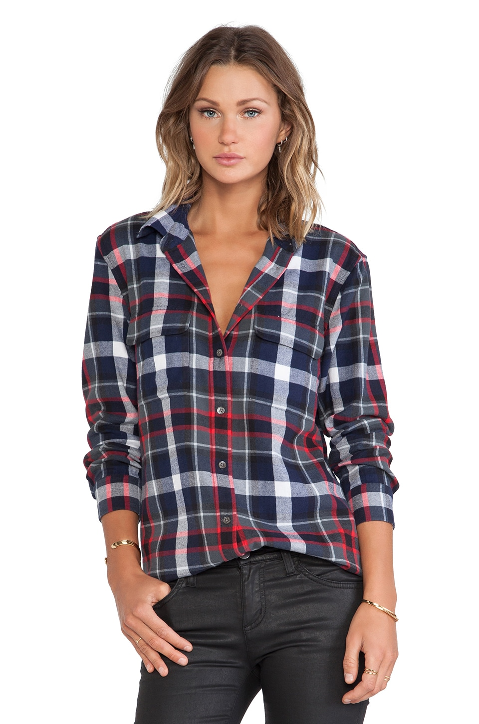 Equipment Signature Plaid Blouse in Peacoat Multi