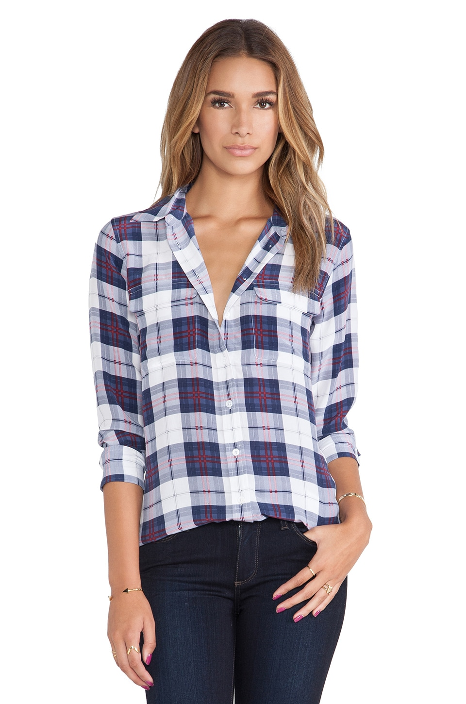 Equipment Slim Signature Audacious Plaid Printed Blouse in Luxe Multi