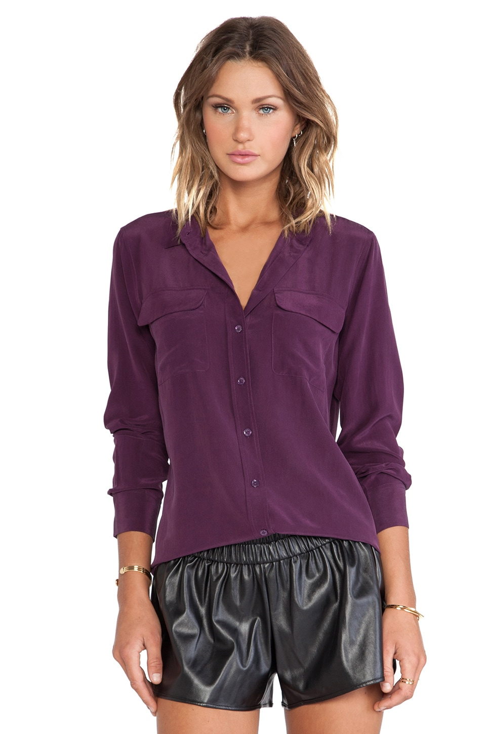 Equipment Slim Signature Blouse in Cabernet