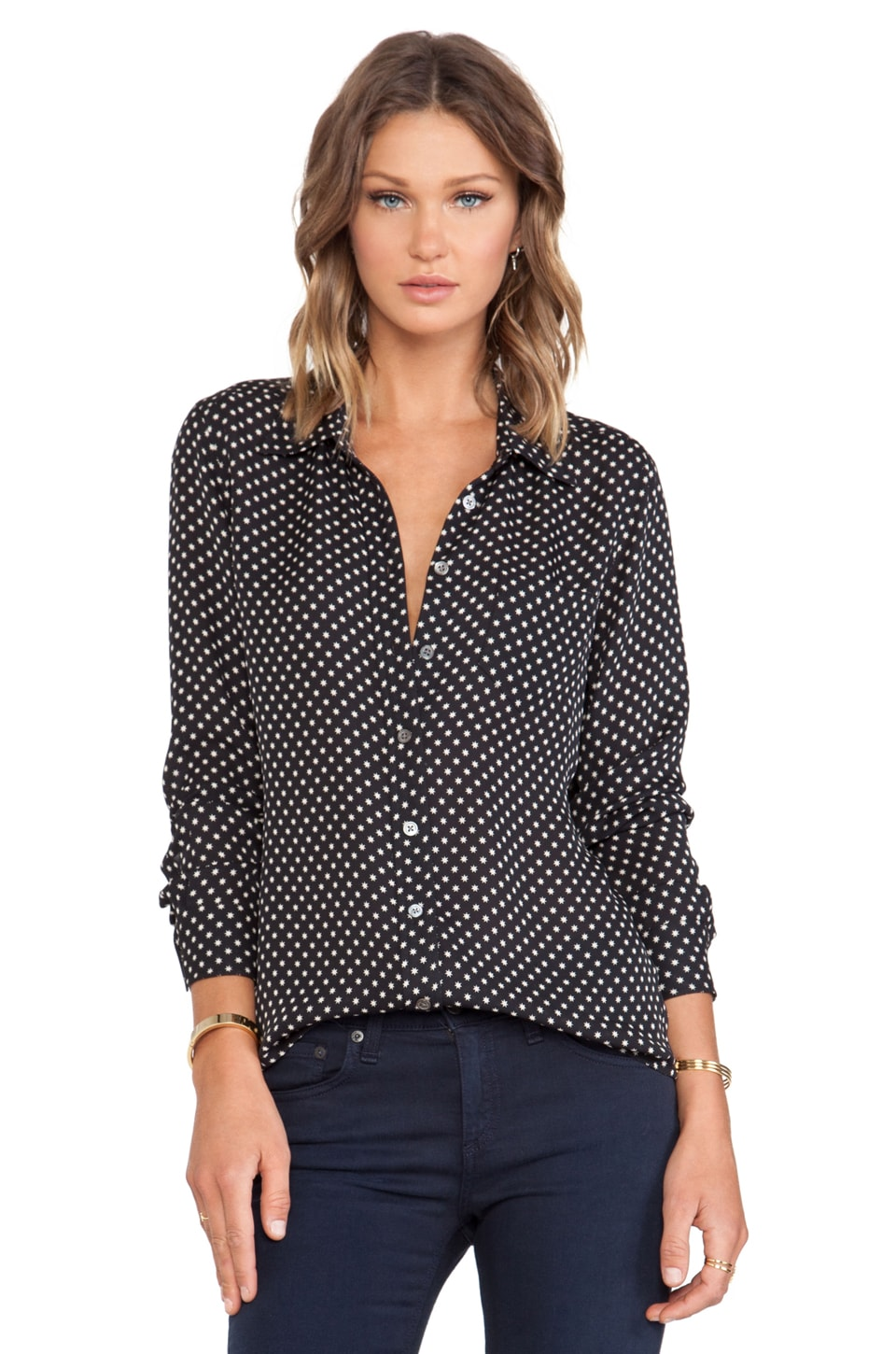 Equipment Brett Mini Tokyo Star Blouse in True Black