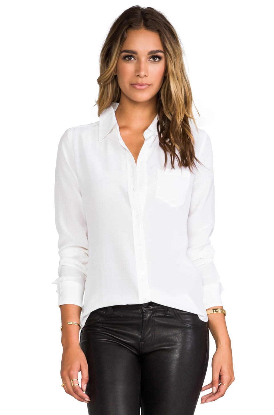 Equipment Brett Vintage Wash Blouse in Bright White | REVOLVE