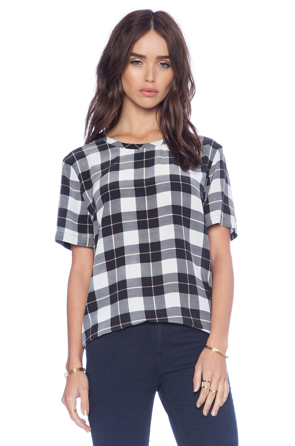 Equipment Riley Pirate Plaid Tee in Bright White Multi
