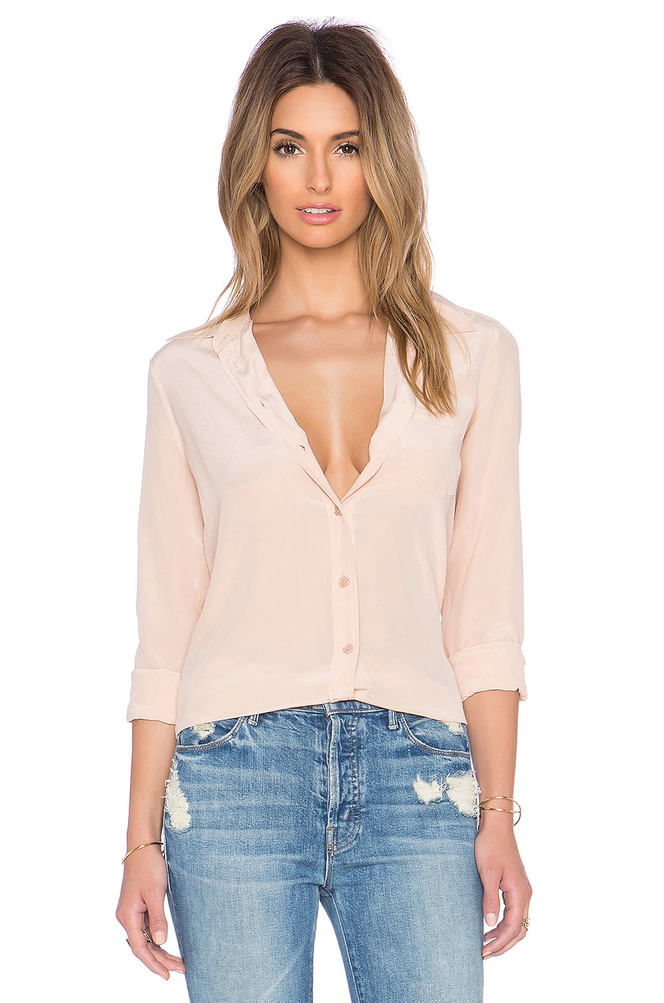 Equipment Brett Vintage Wash Blouse in Nude