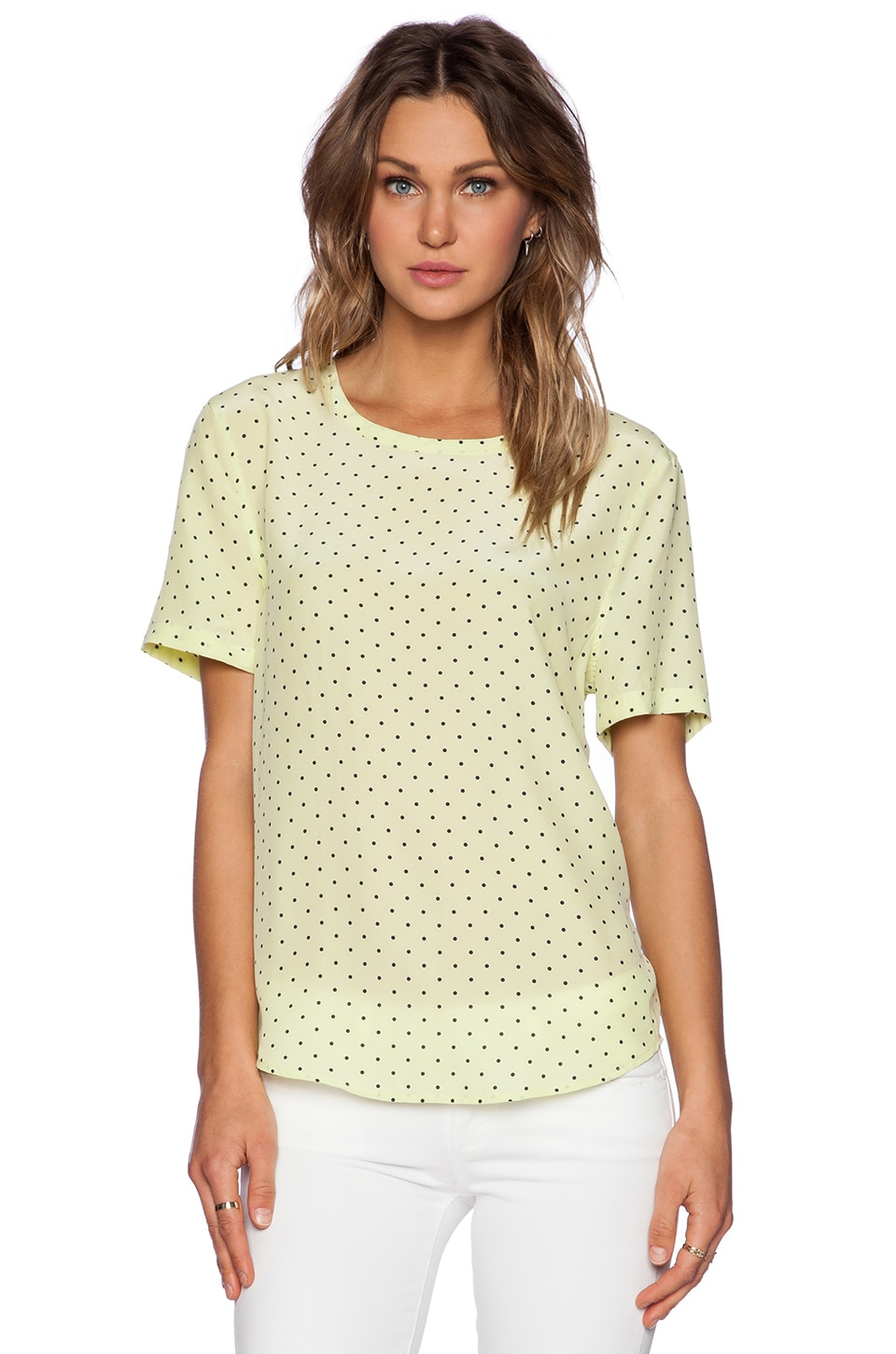 Equipment Riley Uniform Dot Tee in Lemongrass