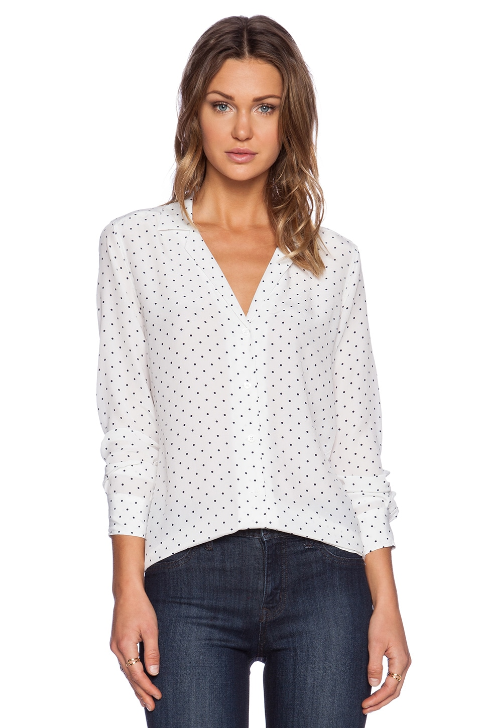 Equipment Adalyn Uniform Dot Blouse in Bright White