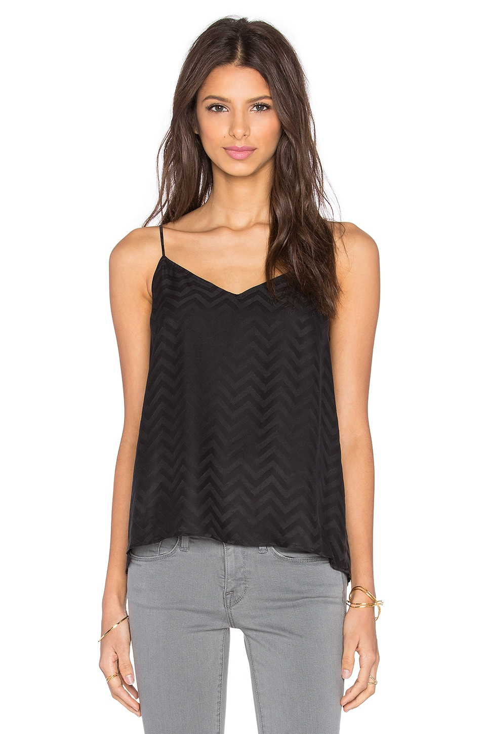 Equipment Layla Inverted Chevron Cami in True Black
