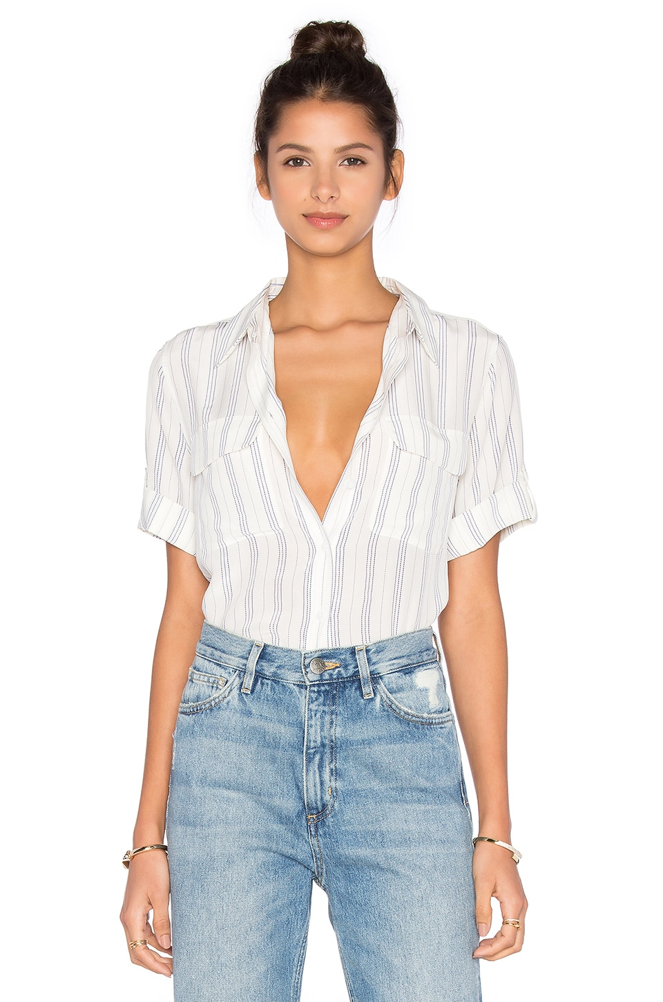Equipment Short Sleeve Slim Signature Stripe Blouse in Bright White & Biro Blue
