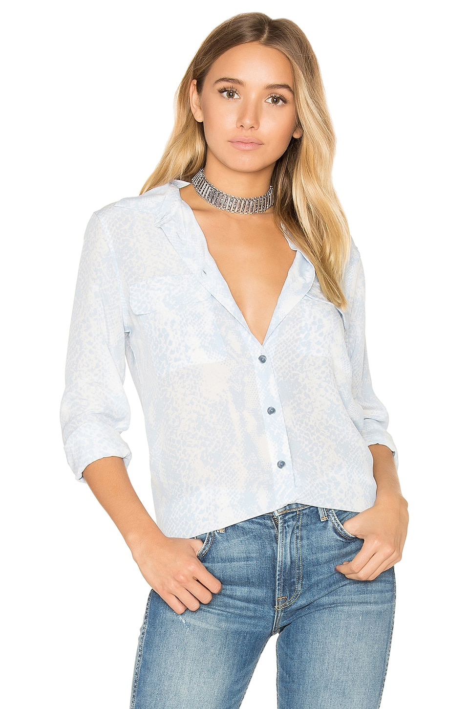 Equipment Slim Signature Snake Print Button Up in Periwinkle