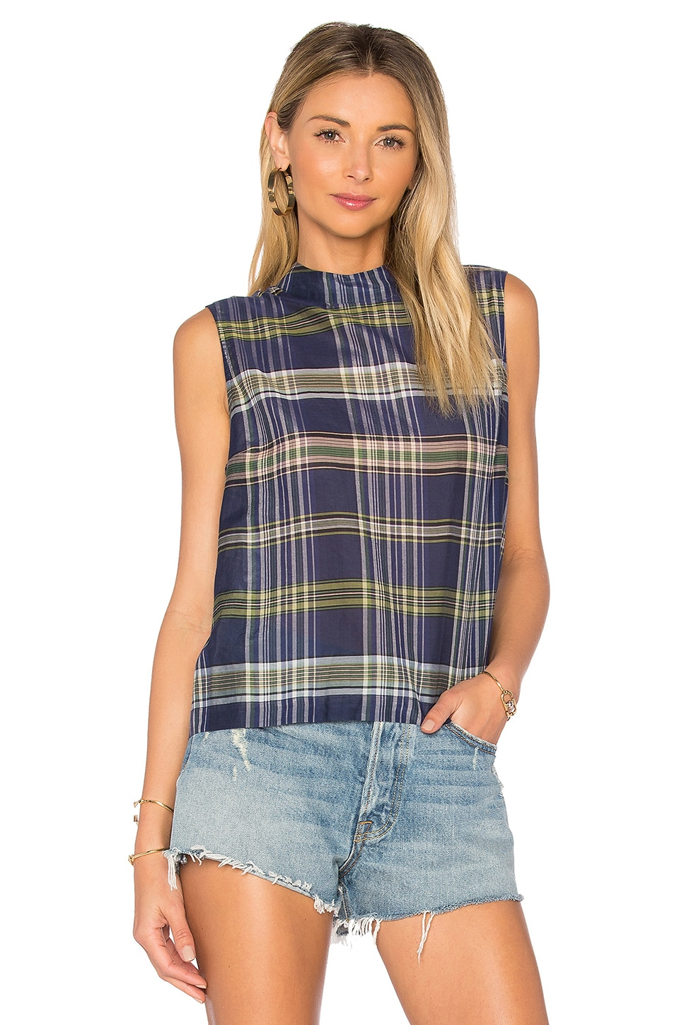 Benton Plaid Tank by Equipment